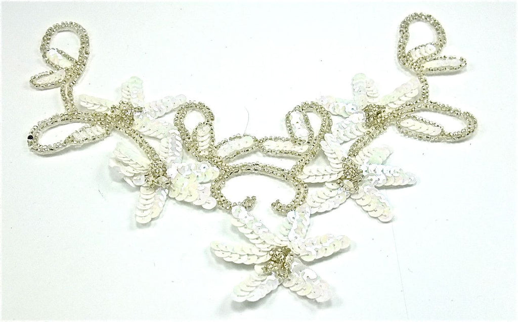 "Flower Neck Line with White Sequins and Beads 11.5"" x 6"""