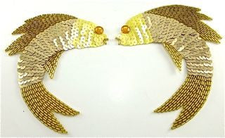 "Fish Pair with Gold Sequins and Beads 5"" x 4"""