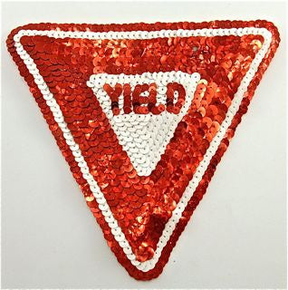 "Yield Road Sign with Red and White Sequins 6"" x 5"""