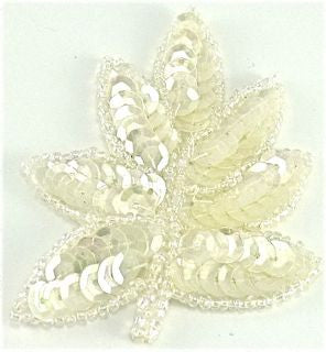 "Leaf Small Iridescent Sequins and Beads* 2"" x 2.5"""