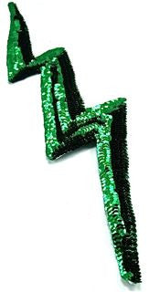 "Lightning Bolt with Dark Emerald Green Sequins 16.5"" x 4"""