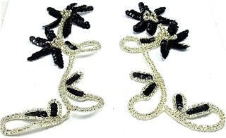 Flower Pair with Black Sequins and Silver Beads