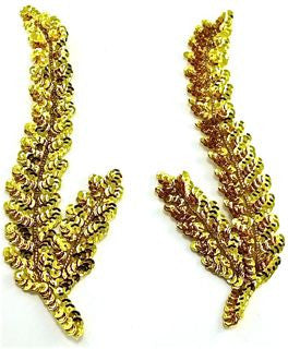 "Seaweed Leaf Pair with Gold Sequins and Beads 8.5"" x 3"""