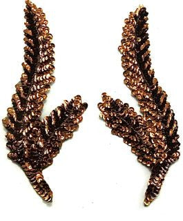 "Seaweed Leaf Pair with Bronze Sequins 8.5"" x 3"""