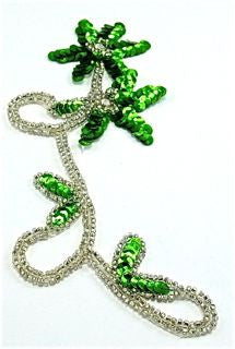 "Flower Single with Green Sequins Silver Beads 8"" x 3.5"""