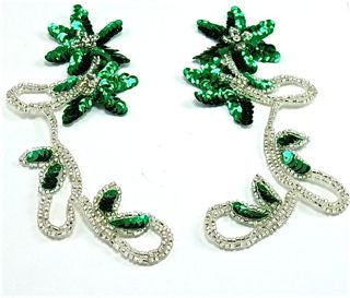 "Flower Pair with Emerald Green Sequins Silver Beads 7"" x 3"""