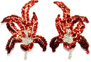 "Designer Motif Pair  and Singles with Red Sequins and Silver Beads 3"" x 6"""