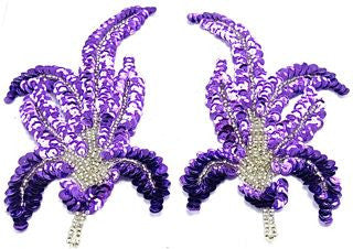 "Leaf Pair with Lite Purple Sequins and Beads 6"" x 3"""