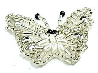 "Butterfly Silver Beads with Pearls 2"" x 1.5"""