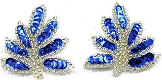 "Leaf Pair with Royal Blue Sequins and Silver Beads 2"" x 1.5"""