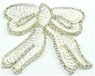 "Bow with White Sequins Silver Beads* 3"" x 2.75"""
