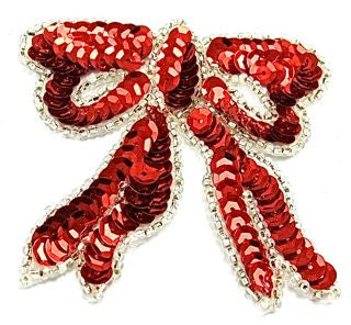 "Bow Red Sequins Silver Beads* 3""x3"""