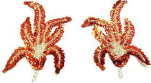 "Load image into Gallery viewer, Designer Motif Pair  Bright Pair and Pale Pair Orange Sequins and Silver Beads 6.5"" x 3"""