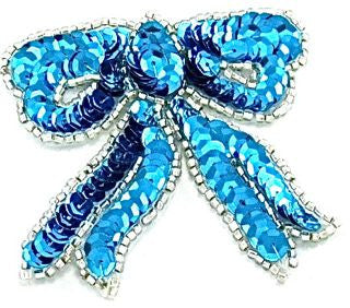 "Bow Turquoise Sequins Silver Beads 3"" x 2.75"""