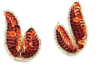 "Leaf Pair or Singe with Fall Color Orange Sequins and Silver Beads  1.25"" x 2"""