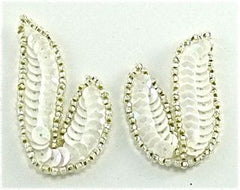 "Leaf Pair or Single with White Sequins and Silver Beads  1.25"" x 2"""