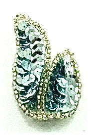 "Leaf Pairs Ice Blue Sequins and Beads 1.25"" x 2"""