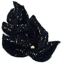 "Leaf with Black Sequins and Beads 6"" x 3.5"""