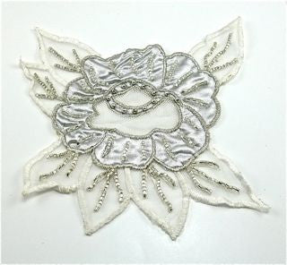 "Flower Embroidered White with Silver Beads 5.6"" x 6.5"""