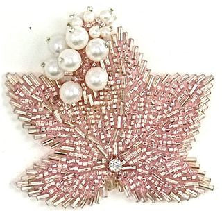 "Epaulet with Pink Beads and White Pearls 3"" x 3"""