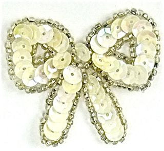 "Bow with Cream White Sequins and Beads 2"" x 2"""