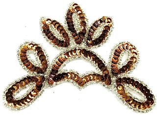 "Design Motif Bronze Crown Shaped Sequins with Silver Beads 5"" x 5"""