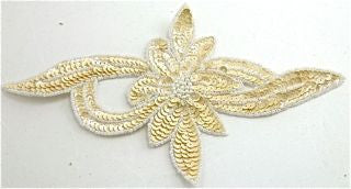 "Flower Motif with Beige Sequins and Beads 9"" x 5"""