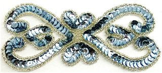 "Designer Motif with Ice Blue Sequins Silver Beads 5.5"" x 2.5"""