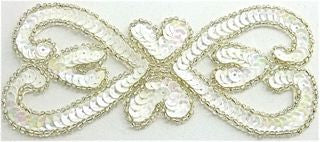 "Designer Motif with White Sequins and Silver beads 5.5"" x 2.5"""