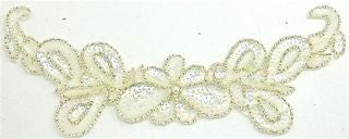 "Flower Neck Line with Iridescent Sequins and Beads 10"" x 4"""