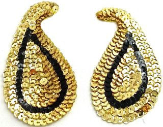 "Design Motif Gold with Black Sequin Pair with Black Accent 2.5"" x 4.5"""