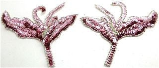 "Flower Pair with Pink Sequins and Silver Beads 7.5"" x 6"""