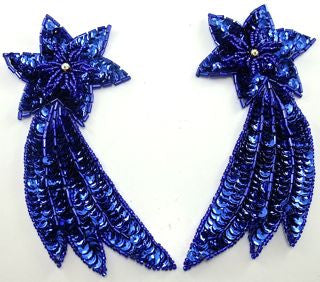 "Shooting Star Pair with Royal Blue Sequins and AB Rhinestone 5.5"" x 3"""