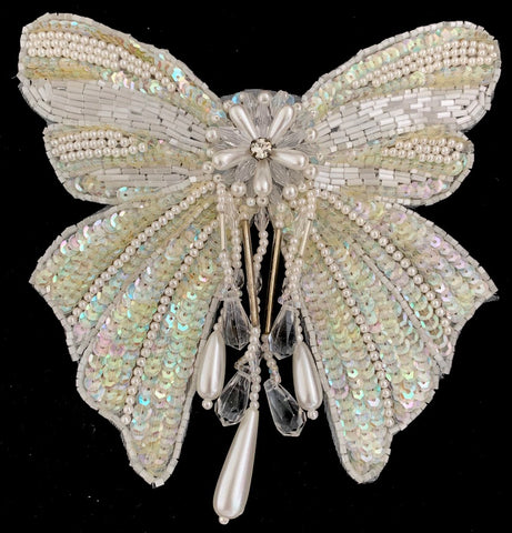 "Bow Iridescent Sequin and Beaded Epaulet with Pearls and Rhinestone 6"" x 6"""
