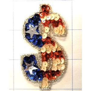 "Dollar Sign Patriotic American Flag 3"" x 1.5"""