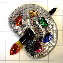 "Artist Palette MulitColored Sequins and Beads 4"" x 4.5"" - Sequinappliques.com"