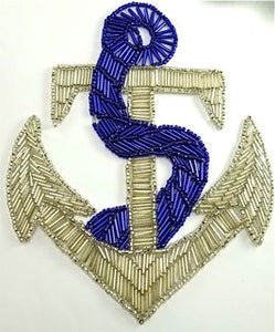 "Anchor with Silver and Red or Blue Beads 7"" x 8"" - Sequinappliques.com"