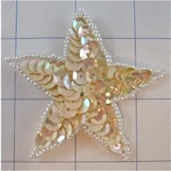 Star with Beige Sequins and White Beads  2.5""
