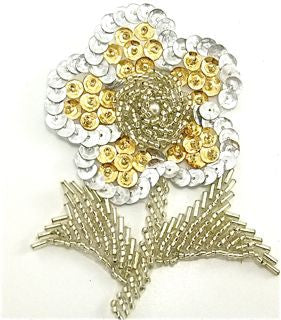 "Flower with Gold and Silver Beads and Pearls. 4"" X 3"""
