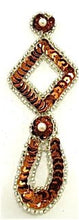 "Load image into Gallery viewer, Designer Motif Drop with Bronze and Silver Sequins and Beads 4.5"" X 1.5"""