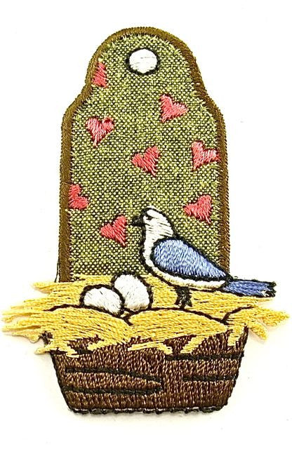 "Bird in Nest Embroidered Iron-on   2.5"" x 2"""