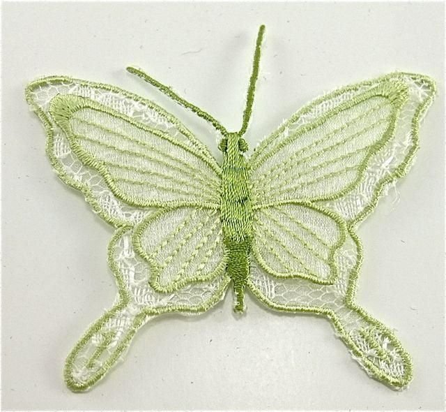 "Butterfly, Light Green Embroidered Iron-On  3"" X 2"""