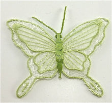"Load image into Gallery viewer, Butterfly, Light Green Embroidered Iron-On  3"" X 2"""