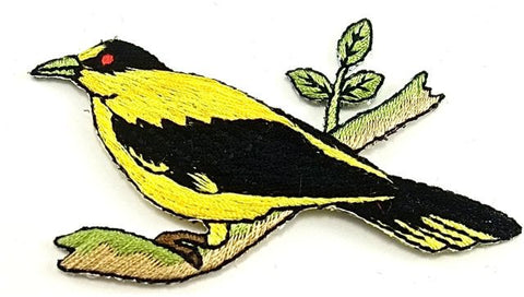 "Bird Yellow Embroidered Iron-on 3.25"" x 2.5"""