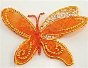 "Butterfly with Orange Organza, Embroidered Iron-On 3"" x 2"""
