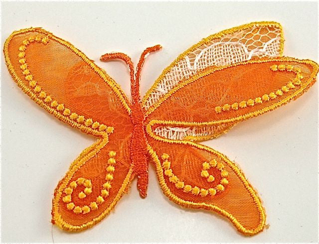 Butterfly with Orange Organza, Embroidered Iron-On 3