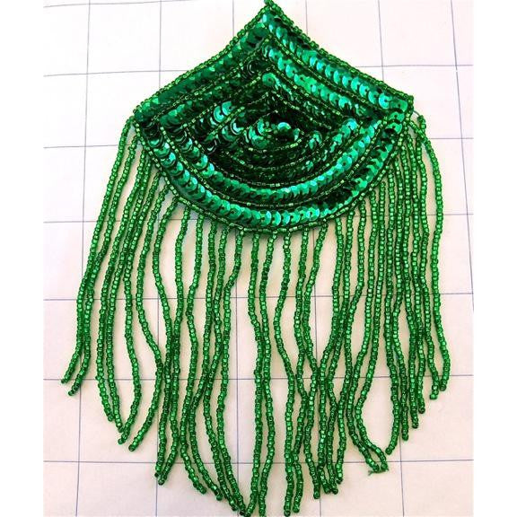 "Epaulet with Green Sequins and Beads 6"" x 4"""