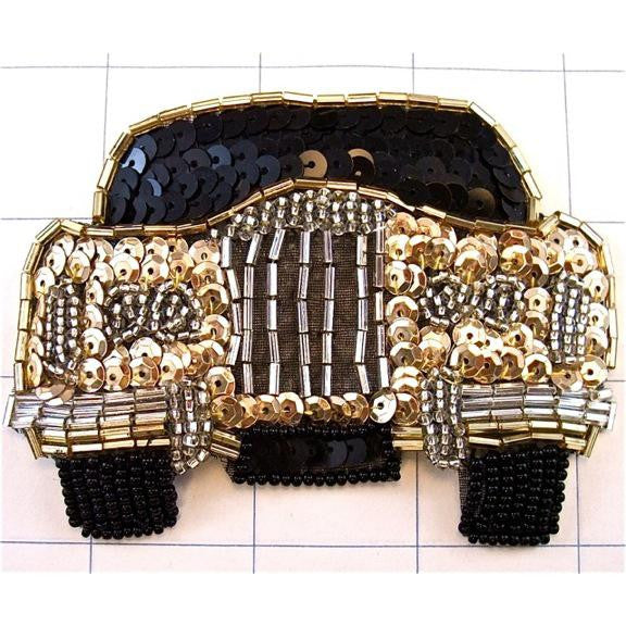 "Car Rolls Royce Gold and Black Sequins and Beads 4"" x 3"""