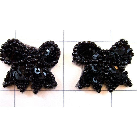 Bow Black pair Beaded 1""