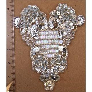 "Designer Motif with Silver Sequins Beads and Iridescent Sequins 5.5"" x 5.5"""